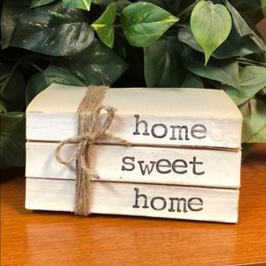 3 farmhouse inspired books stamped Home sweet home